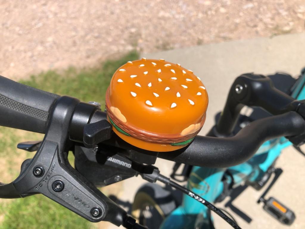 bicycle bell shaped like a hamburger