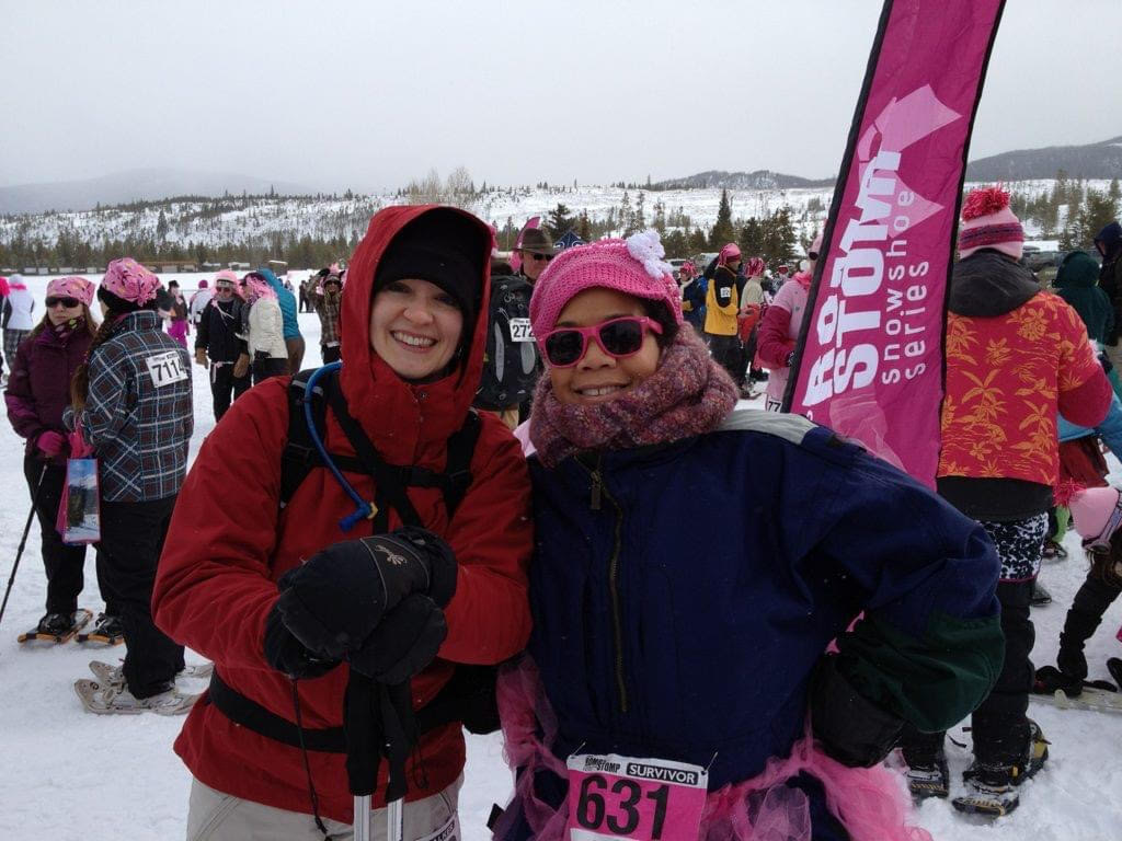 two women at a snowshoeing event