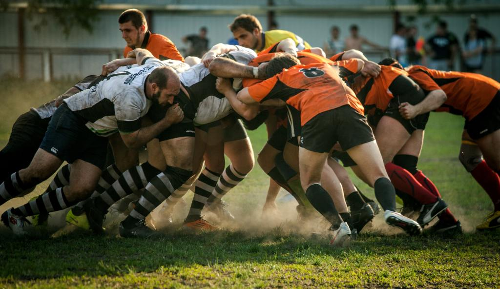rugby players engaged in a scrum