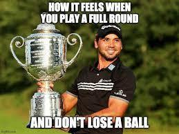meme of a golfer holding a trophy
